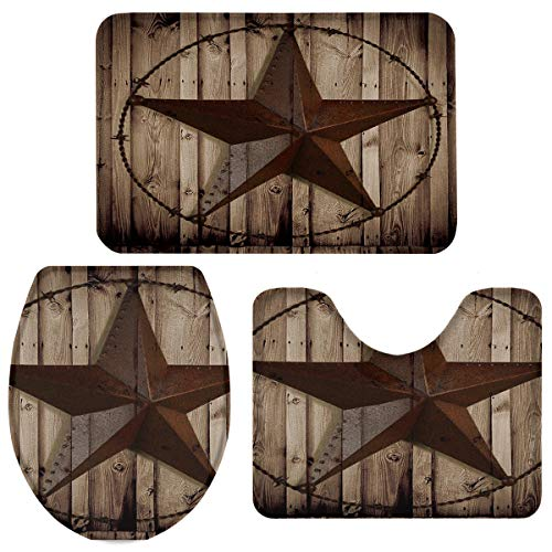 TH Home Bath Rug Sets 3 Piece For Bathroom Rustic Vintage Texas Star Barn Wooden Ultra Soft Non Slip And Absorbent Shower Mat U Shaped Contour Mat Toilet Lid Cover 18x3014x1815x18 0