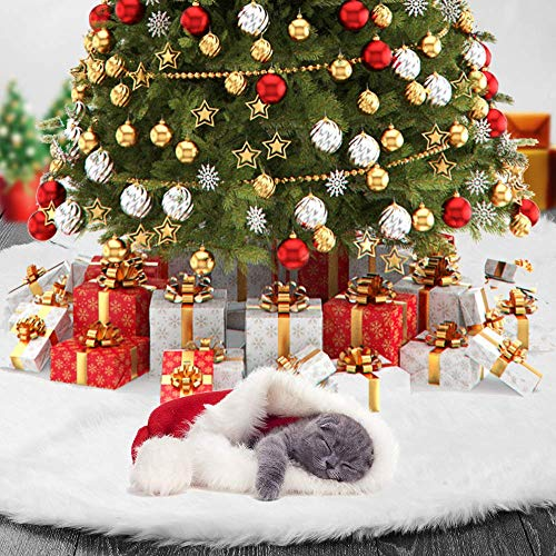 TOBEHIGHER Christmas Tree Skirt 48 Inches White Christmas Tree Skirt High End Soft Classic Fluffy Faux Fur Tree Skirt For Xmas Tree Decorations And Ornaments 0 0