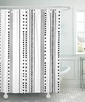TOMPOP Shower Curtain Gray African Triangle Stripes Herringbone Pattern Monochromatic Black White Waterproof Polyester Fabric 72 X 72 Inches Set With Hooks 0 300x360