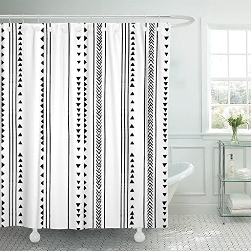 TOMPOP Shower Curtain Gray African Triangle Stripes Herringbone Pattern Monochromatic Black White Waterproof Polyester Fabric 72 X 72 Inches Set With Hooks 0