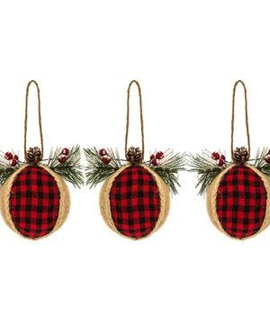TXRepublic 3 Pack Burlap Red Black Plaid Ball Ornaments Farmhouse Country Christmas Decor 0 300x350