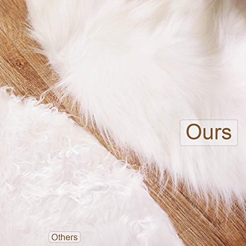 Tatuo White Faux Fur Christmas Tree Skirt Snow Tree Skirts For Christmas Holiday Decorations 120 Cm 0 2