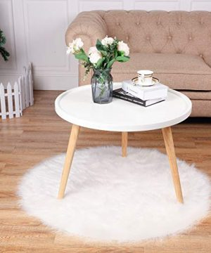 Tatuo White Faux Fur Christmas Tree Skirt Snow Tree Skirts For Christmas Holiday Decorations 120 Cm 0 4 300x360