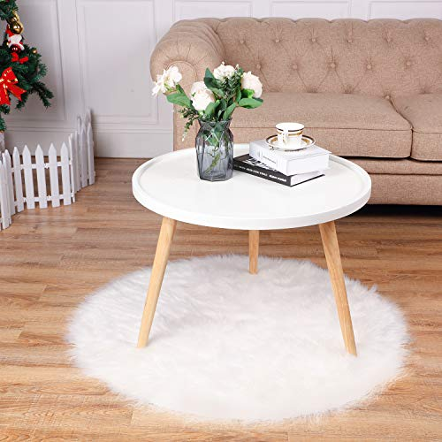 Tatuo White Faux Fur Christmas Tree Skirt Snow Tree Skirts For Christmas Holiday Decorations 120 Cm 0 4