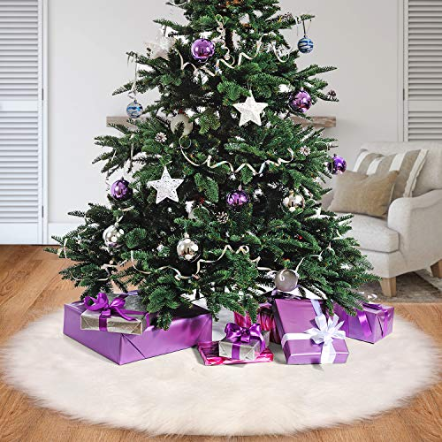 Tatuo White Faux Fur Christmas Tree Skirt Snow Tree Skirts For Christmas Holiday Decorations 120 Cm 0 5