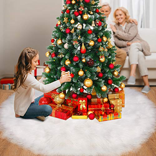 Tatuo White Faux Fur Christmas Tree Skirt Snow Tree Skirts For Christmas Holiday Decorations 120 Cm 0