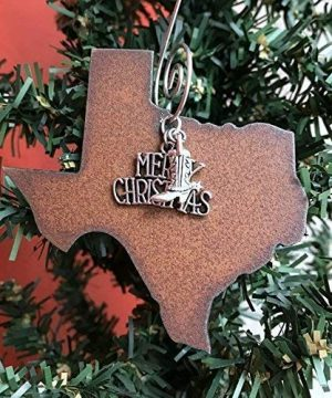 Texas Christmas Ornament MEDIUM 3 Inch Merry Christmas Boot Charms Gift Boxed Stocking Stuffer Handmade In The USA By Duct Tape And Denim Medium 0 0 300x360