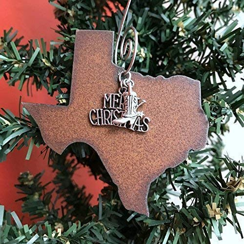 Texas Christmas Ornament MEDIUM 3 Inch Merry Christmas Boot Charms Gift Boxed Stocking Stuffer Handmade In The USA By Duct Tape And Denim Medium 0 0