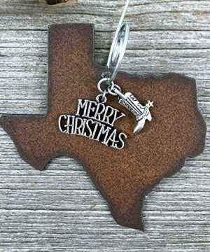Texas Christmas Ornament MEDIUM 3 Inch Merry Christmas Boot Charms Gift Boxed Stocking Stuffer Handmade In The USA By Duct Tape And Denim Medium 0 300x360