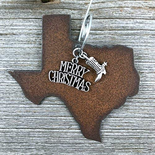 Texas Christmas Ornament MEDIUM 3 Inch Merry Christmas Boot Charms Gift Boxed Stocking Stuffer Handmade In The USA By Duct Tape And Denim Medium 0