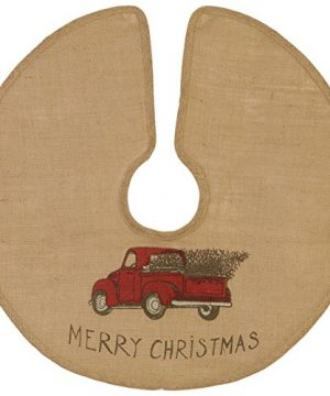 The Country House Christmas Red Truck Burlap Tree Skirt 24 0 300x360