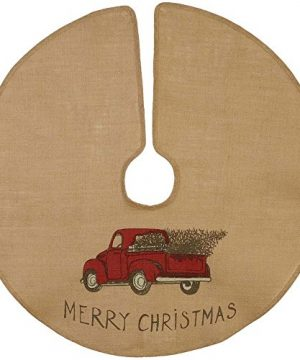 The Country House Christmas Red Truck Burlap Tree Skirt 36 0 300x360