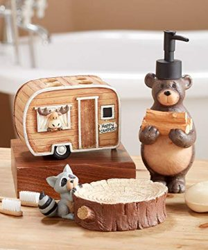The Lakeside Collection Woodland Animal 3 Pc Bathroom Set With Camping Bear Moose Racoon 0 300x360