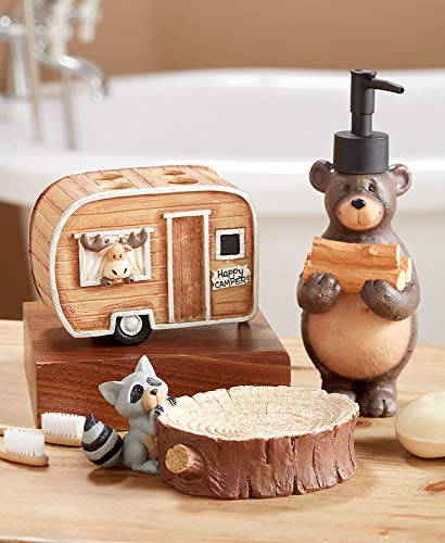 The Lakeside Collection Woodland Animal 3 Pc Bathroom Set With Camping Bear Moose Racoon 0