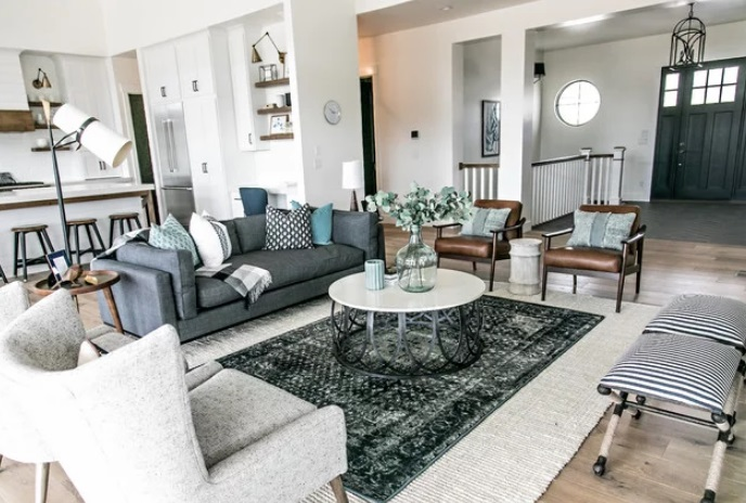 The Mountain Green Modern Farmhouse Living Room by Habitations Residential Design Group