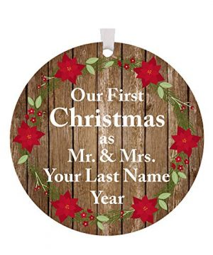 The Trendy Turtle Personalized 2019 Our First Christmas As Mr And Mrs With Poinsettia Flowers Acrylic Christmas Tree Ornament Gift With Your Choice Of Custom Last Name 35 Inches 0 300x360