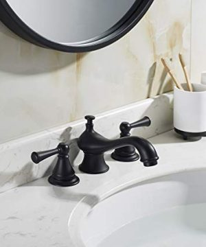TimeArrow Two Handle 8 Inch Widespread Matte Black Bathroom Sink Faucet With Pop Up Drain Stopper Assembly With Lift Rod And Overflow TAF609H MT 0 0 300x360