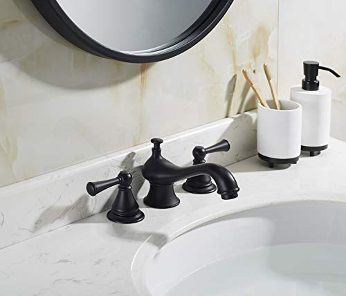 TimeArrow Two Handle 8 Inch Widespread Matte Black Bathroom Sink Faucet With Pop Up Drain Stopper Assembly With Lift Rod And Overflow TAF609H MT 0 0