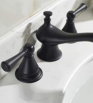 TimeArrow Two Handle 8 Inch Widespread Matte Black Bathroom Sink Faucet With Pop Up Drain Stopper Assembly With Lift Rod And Overflow TAF609H MT 0 1 300x333