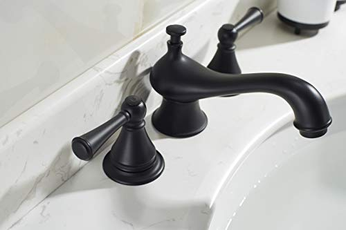 TimeArrow Two Handle 8 Inch Widespread Matte Black Bathroom Sink Faucet With Pop Up Drain Stopper Assembly With Lift Rod And Overflow TAF609H MT 0 1