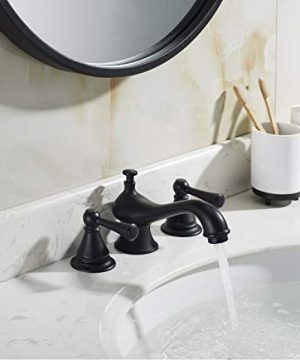 TimeArrow Two Handle 8 Inch Widespread Matte Black Bathroom Sink Faucet With Pop Up Drain Stopper Assembly With Lift Rod And Overflow TAF609H MT 0 2 300x360