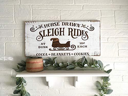 Tiukiu Christmas Signs Sled Christmas Decorations Christmas Home Decor Rustic Wood Christmas Signs Sleigh Rides Large Christmas Signs Holiday Decor 0