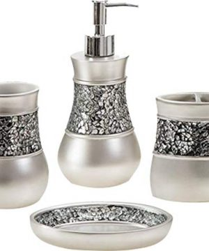 Toucan Treasures 4 Piece Luxury Bathroom Accessories Set Silver Color Gift Set Soap Dish Lotion Dispenser Tumbler Toothbrush Holder Glass Mosaic 0 300x360