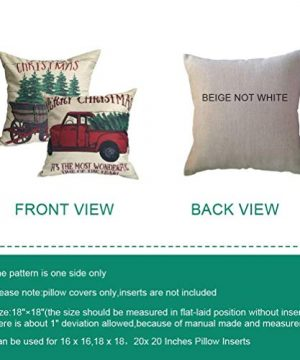 ULOVE LOVE YOURSELF 2Pack Merry Christmas Pillow Cover With Christmas Tree And Vintage Red Truck Pattern Cotton Linen Home Decorative Throw Cushion Case 18 X 18 Inch Christmas 1 0 0 300x360