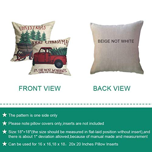 ULOVE LOVE YOURSELF 2Pack Merry Christmas Pillow Cover With Christmas Tree And Vintage Red Truck Pattern Cotton Linen Home Decorative Throw Cushion Case 18 X 18 Inch Christmas 1 0 0