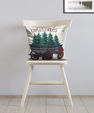 ULOVE LOVE YOURSELF 2Pack Merry Christmas Pillow Cover With Christmas Tree And Vintage Red Truck Pattern Cotton Linen Home Decorative Throw Cushion Case 18 X 18 Inch Christmas 1 0 1 300x360