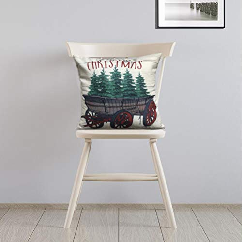 ULOVE LOVE YOURSELF 2Pack Merry Christmas Pillow Cover With Christmas Tree And Vintage Red Truck Pattern Cotton Linen Home Decorative Throw Cushion Case 18 X 18 Inch Christmas 1 0 1