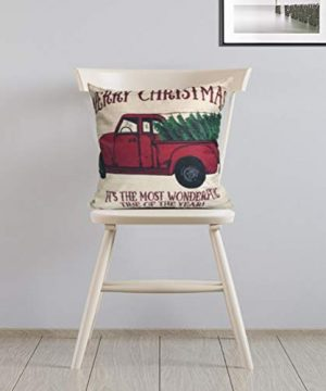 ULOVE LOVE YOURSELF 2Pack Merry Christmas Pillow Cover With Christmas Tree And Vintage Red Truck Pattern Cotton Linen Home Decorative Throw Cushion Case 18 X 18 Inch Christmas 1 0 2 300x360