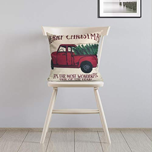 ULOVE LOVE YOURSELF 2Pack Merry Christmas Pillow Cover With Christmas Tree And Vintage Red Truck Pattern Cotton Linen Home Decorative Throw Cushion Case 18 X 18 Inch Christmas 1 0 2