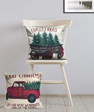 ULOVE LOVE YOURSELF 2Pack Merry Christmas Pillow Cover With Christmas Tree And Vintage Red Truck Pattern Cotton Linen Home Decorative Throw Cushion Case 18 X 18 Inch Christmas 1 0 3 300x360