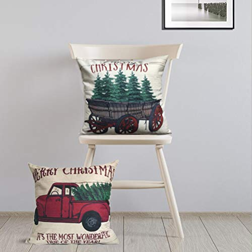 ULOVE LOVE YOURSELF 2Pack Merry Christmas Pillow Cover With Christmas Tree And Vintage Red Truck Pattern Cotton Linen Home Decorative Throw Cushion Case 18 X 18 Inch Christmas 1 0 3