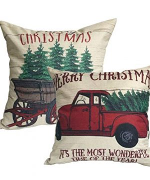 ULOVE LOVE YOURSELF 2Pack Merry Christmas Pillow Cover With Christmas Tree And Vintage Red Truck Pattern Cotton Linen Home Decorative Throw Cushion Case 18 X 18 Inch Christmas 1 0 300x360