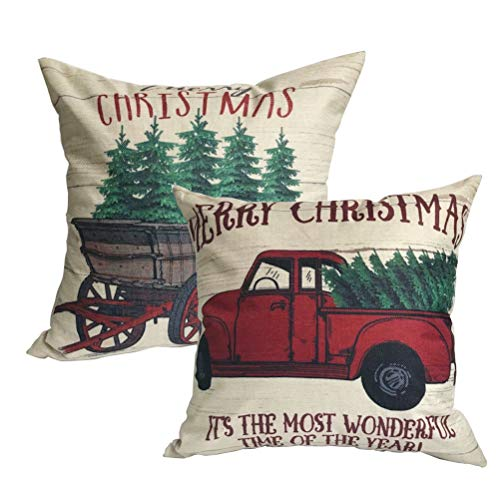 ULOVE LOVE YOURSELF 2Pack Merry Christmas Pillow Cover With Christmas Tree And Vintage Red Truck Pattern Cotton Linen Home Decorative Throw Cushion Case 18 X 18 Inch Christmas 1 0