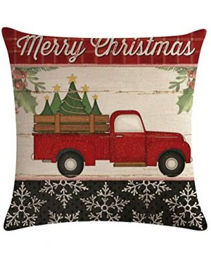 ULOVE LOVE YOURSELF Farmhouse Christmas Throw Pillow Covers With Red Truck CarXmas Tree Happy Holiday Home Decorative Cushion Cover Pillowcase 18x18 Inches4Pack 0 0 300x360