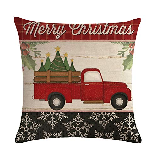 ULOVE LOVE YOURSELF Farmhouse Christmas Throw Pillow Covers With Red Truck CarXmas Tree Happy Holiday Home Decorative Cushion Cover Pillowcase 18x18 Inches4Pack 0 0