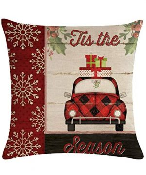 ULOVE LOVE YOURSELF Farmhouse Christmas Throw Pillow Covers With Red Truck CarXmas Tree Happy Holiday Home Decorative Cushion Cover Pillowcase 18x18 Inches4Pack 0 1 300x360