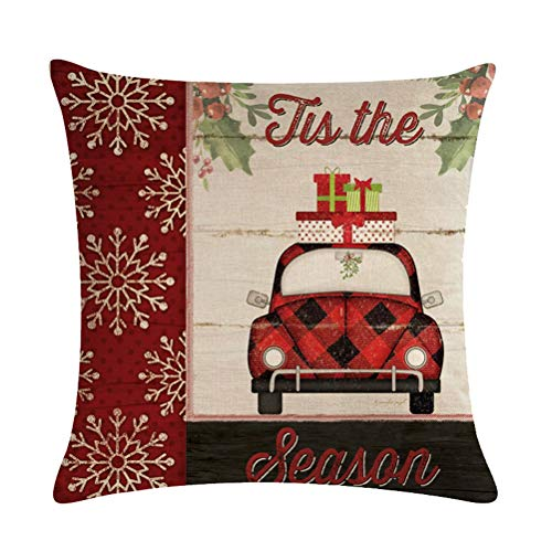ULOVE LOVE YOURSELF Farmhouse Christmas Throw Pillow Covers With Red Truck CarXmas Tree Happy Holiday Home Decorative Cushion Cover Pillowcase 18x18 Inches4Pack 0 1