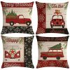 ULOVE LOVE YOURSELF Farmhouse Christmas Throw Pillow Covers With Red Truck CarXmas Tree Happy Holiday Home Decorative Cushion Cover Pillowcase 18x18 Inches4Pack 0 100x100