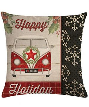 ULOVE LOVE YOURSELF Farmhouse Christmas Throw Pillow Covers With Red Truck CarXmas Tree Happy Holiday Home Decorative Cushion Cover Pillowcase 18x18 Inches4Pack 0 2 300x360