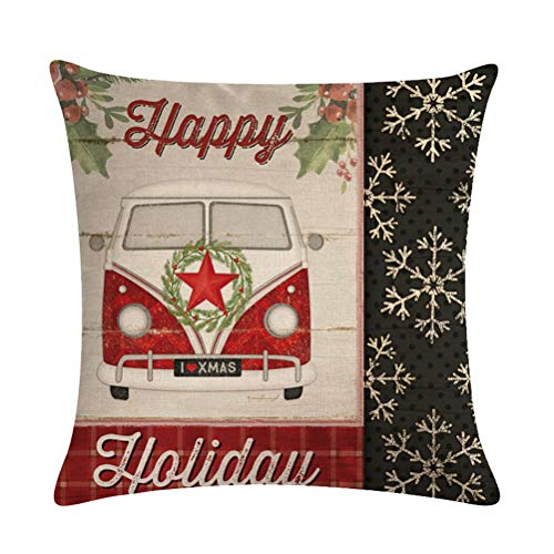 ULOVE LOVE YOURSELF Farmhouse Christmas Throw Pillow Covers With Red Truck CarXmas Tree Happy Holiday Home Decorative Cushion Cover Pillowcase 18x18 Inches4Pack 0 2