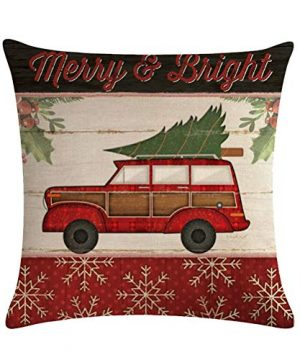ULOVE LOVE YOURSELF Farmhouse Christmas Throw Pillow Covers With Red Truck CarXmas Tree Happy Holiday Home Decorative Cushion Cover Pillowcase 18x18 Inches4Pack 0 3 300x360