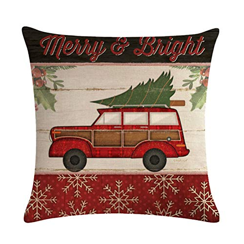 ULOVE LOVE YOURSELF Farmhouse Christmas Throw Pillow Covers With Red Truck CarXmas Tree Happy Holiday Home Decorative Cushion Cover Pillowcase 18x18 Inches4Pack 0 3
