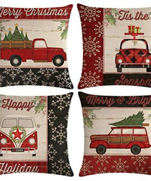 ULOVE LOVE YOURSELF Farmhouse Christmas Throw Pillow Covers With Red Truck CarXmas Tree Happy Holiday Home Decorative Cushion Cover Pillowcase 18x18 Inches4Pack 0 300x360