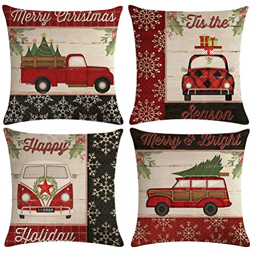 ULOVE LOVE YOURSELF Farmhouse Christmas Throw Pillow Covers With Red Truck CarXmas Tree Happy Holiday Home Decorative Cushion Cover Pillowcase 18x18 Inches4Pack 0