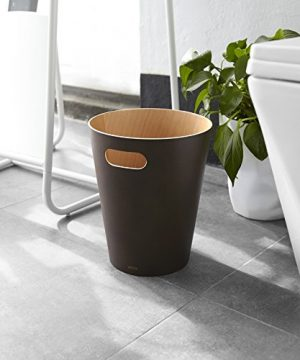 Umbra Woodrow 2 Gallon Modern Wooden Trash Can Wastebasket Or Recycling Bin For Home Or Office Espresso 0 5 300x360