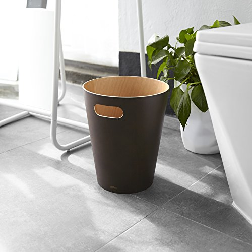 Umbra Woodrow 2 Gallon Modern Wooden Trash Can Wastebasket Or Recycling Bin For Home Or Office Espresso 0 5